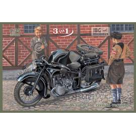 IBG Model 1:35 BMW R12 with sidecar - civilian version ( 3 in 1)