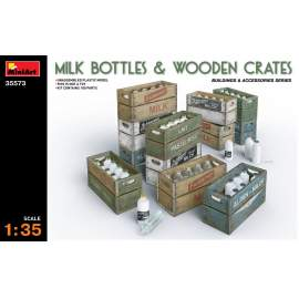 Miniart 1:35 Milk Bottles & Wooden Crates