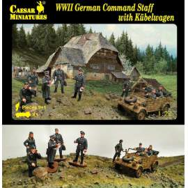 Caesar Miniatures 1:72 - German Command Staff with Kubelwagen (WWII)