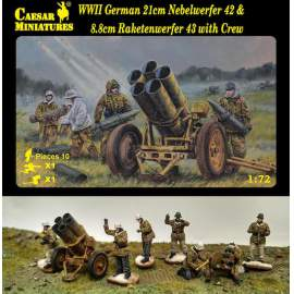 Caesar Miniatures 1:72 - WWII German 21cm Nebelwerfer 42 and 8.8cm Rf with