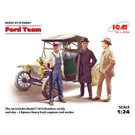 ICM 1:24 Ford Team (Model T 1913 Roadster car kit and 3 figures)