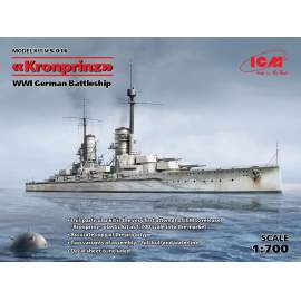 ICM - 1:700 Kronprinz fullhull & waterline WWI German Battleship