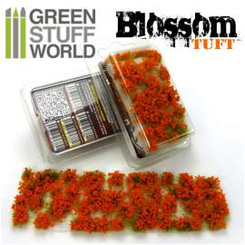 Green Stuff World Blossom TUFTS - 6mm ORANGE Flowers