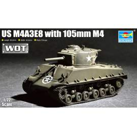 Trumpeter 1:72 US M4A3E8 with 105mm M4 harcjármű makett