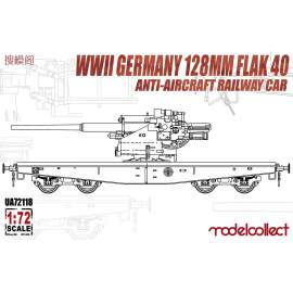 Modelcollect 1:72 WWII Germany 128mm Flak 40 Anti-Aircraft Railway Car