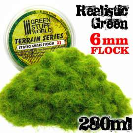 Green Stuff World - Static Grass Flock XL - 6 mm - Realistic Green - 280 ml