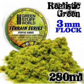 Green Stuff World - Static Grass Flock - Realistic Green 3 mm - 280 ml