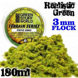 Green Stuff World - Static Grass Flock 3 mm - Realistic Green - 180 ml