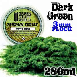 Green Stuff World - Static Grass Flock 3 mm - Dark Green - 280 ml