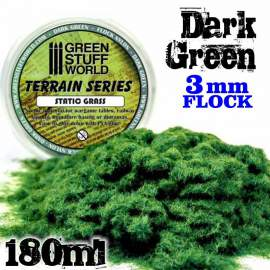 Green Stuff World - Static Grass Flock 3 mm - Dark Green - 180 ml