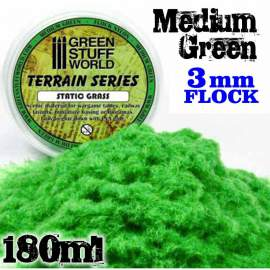 Green Stuff World - Static Grass Flock 3 mm - Medium Green - 180 ml