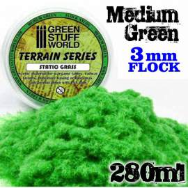Green Stuff World - Static Grass Flock 3 mm - Medium Green - 280 ml