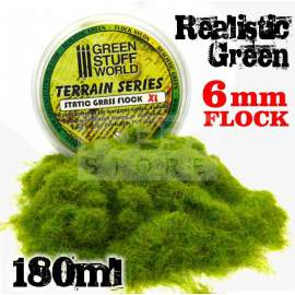 Green Stuff World - Static Grass Flock - 6 mm - Realistic Green - 180 ml
