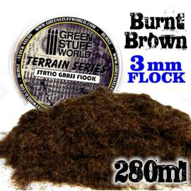 Green Stuff World - Static Grass Flock 3 mm - BURNT Brown - 280 ml