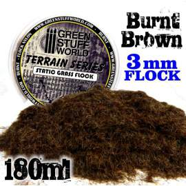 Green Stuff World - Static Grass Flock 3 mm - BURNT Brown - 180 ml