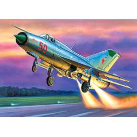 Zvezda 1:72 MIG-21 PFM Soviet fighter repülő makett