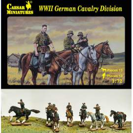 Caesar Miniatures 1:72 - German Cavalry Division (WWII) 13 horses and figur