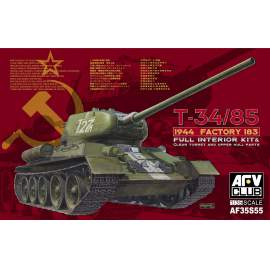 AFV-Club 1:35 T-34/85 1944 Factory 183(LIMITED) w. trans harcjármű makett
