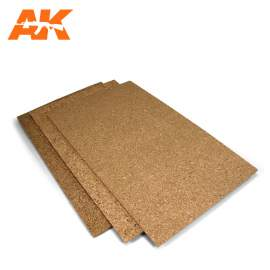 AK-Interactive Cork sheets - fine grained - 200 x 300 x 1mm (2 lap)