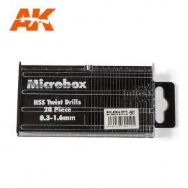 AK Interactive Microbox HSS Drill Bits 20 units 0.3-1.6mm