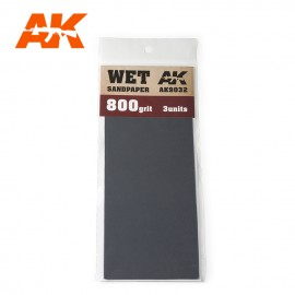 AK Interactive Wet Sandpaper 800 Grit. 3 units