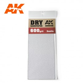 AK Interactive Dry Sandpaper 600 Grit. 3 units